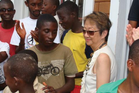 Judy Cheng-Hopkins visiting a youth  centre in Gihanga, Burundi