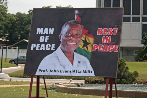 Billboard in Accra, Ghana, marking the death of President John Atta Mills in July 2012