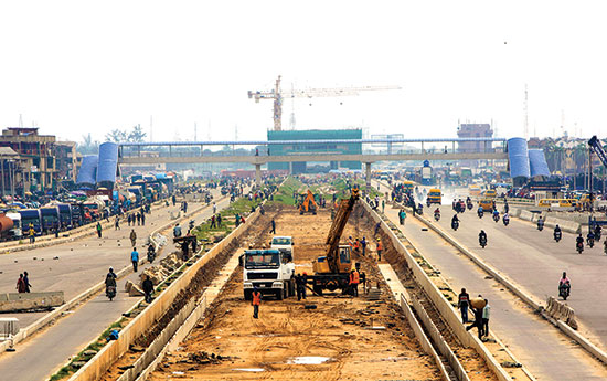Construction work on the Orile light rail terminal, part of a private-public enterprise to build a mass transit system in Lagos, Nigeria.