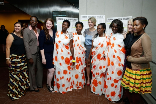 """Film Director Michele Mitchell (5th right) at the UN screening of """"The Uncondemned"""" with the four women who testified before the International Criminal Tribunal for  Rwanda and Godeliève Mukasarasi of the SEVOTA support group for widows and orphans. UN Ph"""