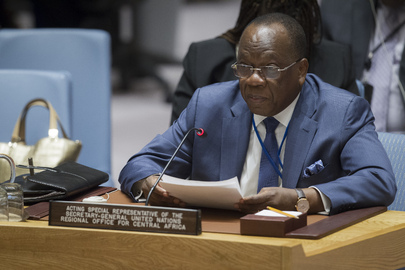 François Loucény Fall, the Special Representative of the Secretary-General and head of the United Nations Regional Office for Central Africa (UNOCA) briefing the Security Council. Photo: UN Photo/ Eskinder Debebe