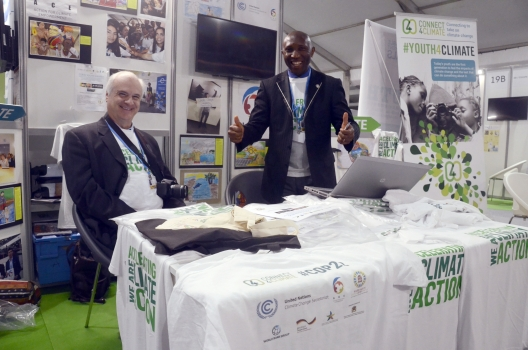 Ntiokam Divine (right) at the Climate Change Conference in Marrakech, Morocco in November 2016.