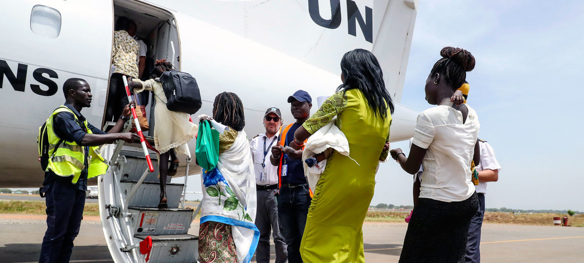 After staying at the UN peacekeeping mission's protection site in Juba for several years, 13 mostly internally displaced women and children voluntarily returned to waiting relatives in their hometown of Malakal, South Sudan.