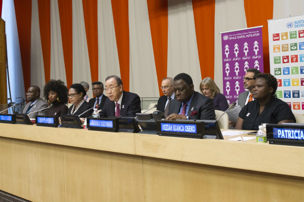 Special Event on Elimination of Female Genital Mutilation by 2030. Among those taking part in the vent was Keziah Bianca Oseko (right). UN Photo/Manuel Elias