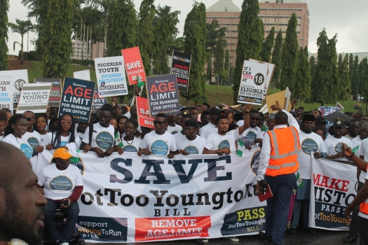Nigerian youth campaigning for a reduction in the age limit of those vying for office.
