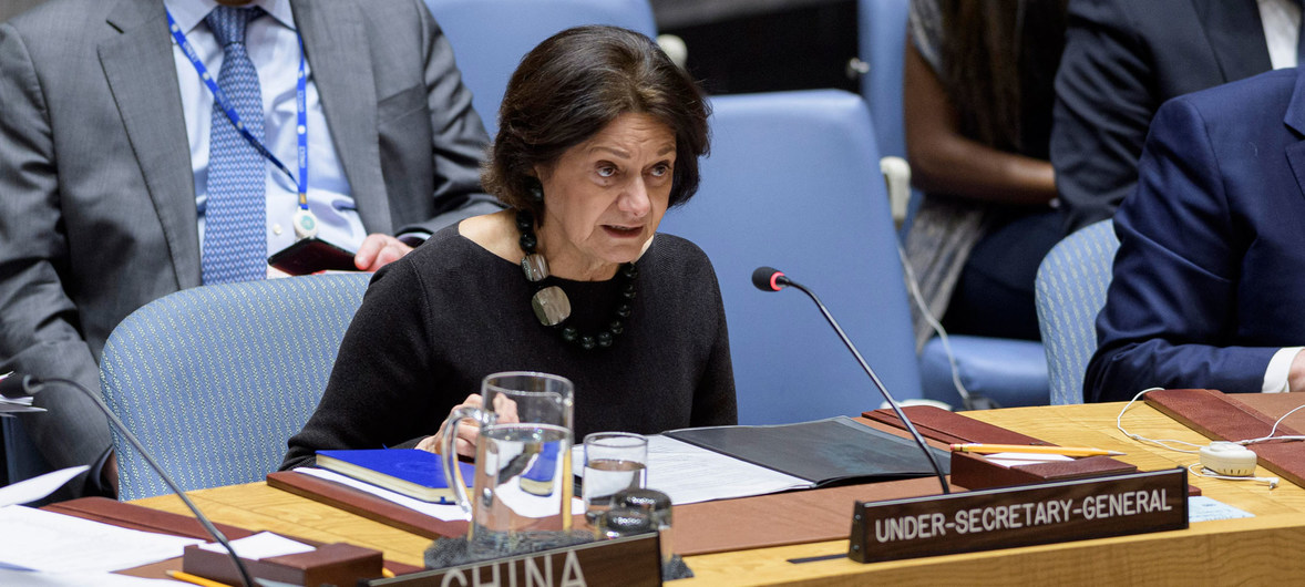 Rosemary DiCarlo, Under-Secretary-General for Political Affairs, briefs the Security Council meeting on peace and security in Africa.