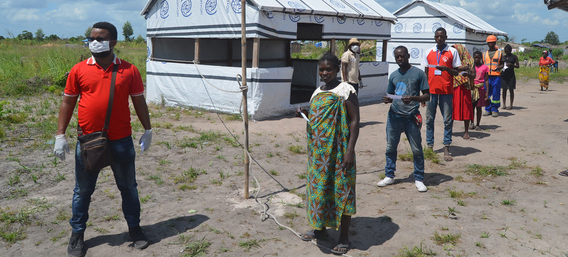 Social distancing is being practiced at a resettlement centre in Dondo District, as part of efforts in Mozambique to combat the spread of COVID-19.