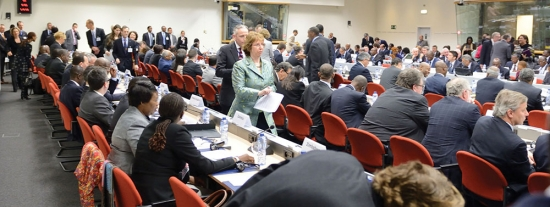 Participants at a ministerial meeting on the margins of the EU-Africa Summit in Brussels.