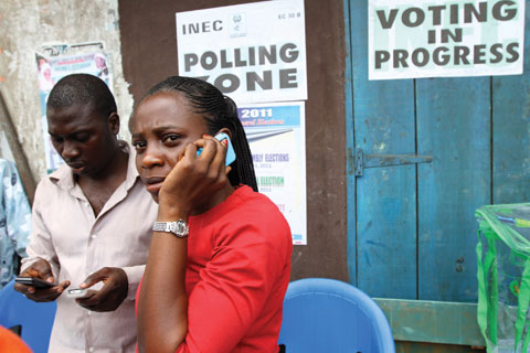 An electoral officer in a Lagos neighbourhood during the April 2011 elections in Nigeria