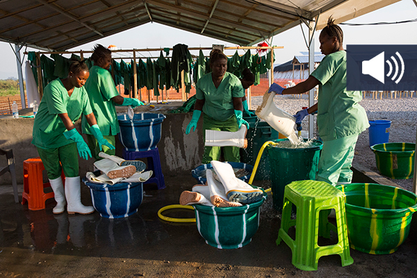Scene from an Ebola treatment centre run by Medecins Sans Frontières/Doctors Without Borders (MSF) in Magburaka, Sierra Leone.
