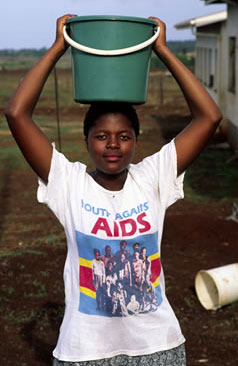 Young woman promoting AIDS awareness in Swaziland