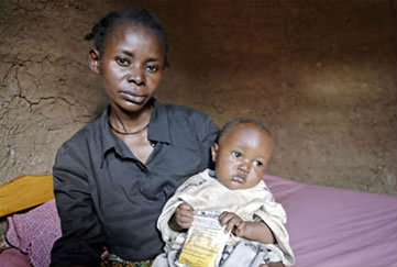 HIV-positive mother and child in Tanzania