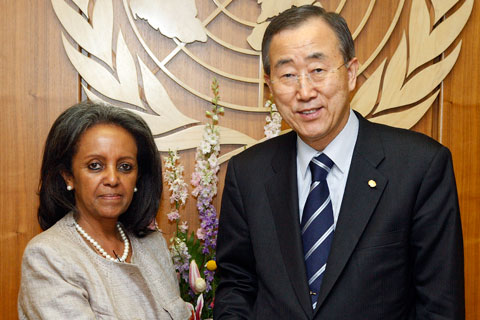 Ms. Sahle-Work Zewde, veteran Ethiopian diplomat and the Secretary-General Ban Ki-moon