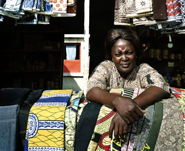 A fabric seller in Angola