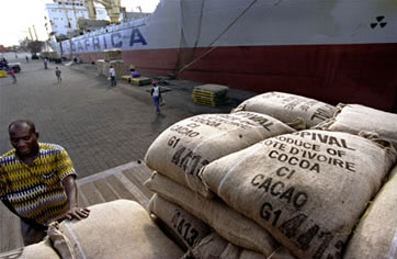 Loading cocoa at Côte d'Ivoire's port of Abidjan