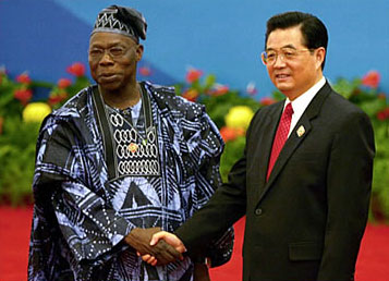 Nigerian President Olusegun Obasanjo with Chinese President Hu Jintao at the opening