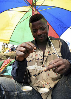 Weighing gold in the eastern Democratic Republic of the Congo