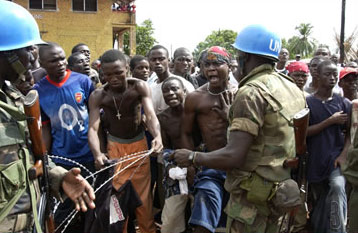 Tensions at a Liberian cantonment site
