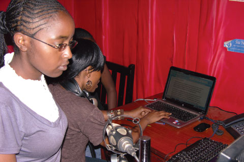 Presenters at the studio of Koch FM, Kenya's first licensed community radio station
