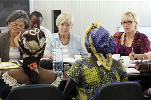 Margot Wallström (right), the UN Secretary-General's special representative on sexual violence in conflict, meeting with survivors in the eastern Congo