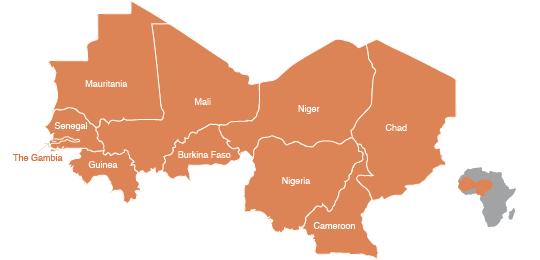Countries of the Sahel