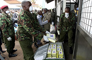 Kenyan police prepare to burn cocaine sachets seized from drug smugglers