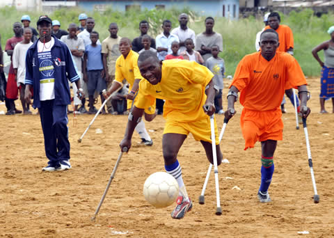 "The United Nations, as part of a ""peace day"" celebration in Liberia, organized a soccer match among amputees"