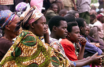 "Villagers at a grassroots ""gacaca"" court in Rwanda"