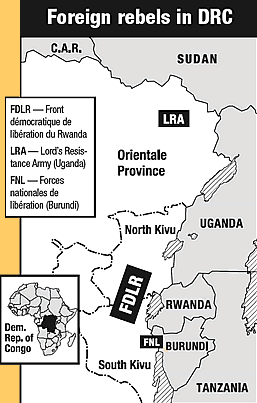 Map of foreign fighters in DRC