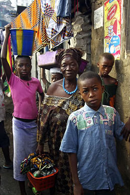 A poor neighbourhood in Freetown, Sierra Leone