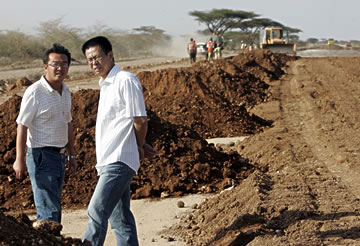Chinese-financed road construction project in Kenya