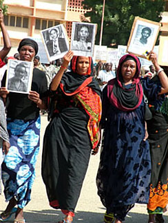 Widows and mothers of political victims demonstrating in N'Djamena, the capital of Chad, to demand that former President Hissène Habré be tried for his abuses