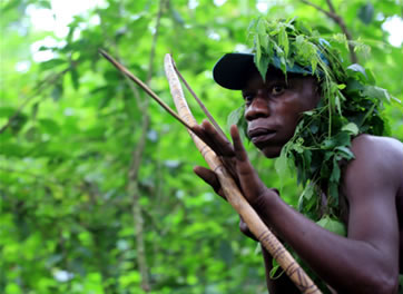 A forest hunter in Uganda