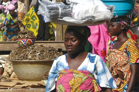 Marketplace in northern Ghana: Although economic growth has been strong, the economy remains poorly diversified and faces energy constraints.