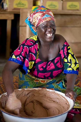 Mixing shea butter for soap production in Tamale, the capital of Ghana's Northern Region