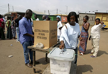 Ghanaians voting