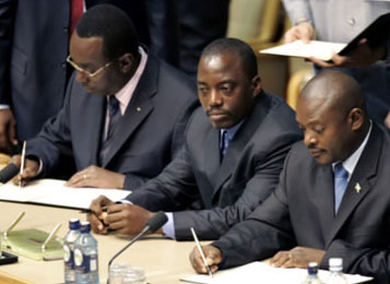 From left: Rwandan Three leaders sign pact at Great Lakes summit. From left: Rwandan Prime Minister Bernard Makuza, DRC President Joseph Kabila and Burundian President Pierre Nkurunziza