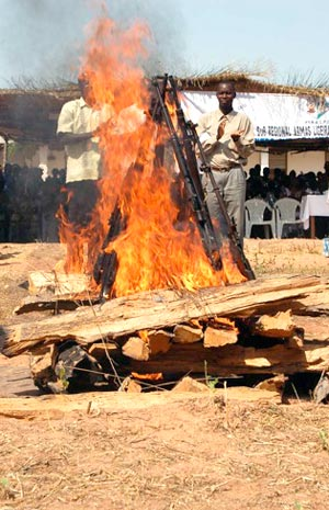 Symbolic burning of arms following Guinea-Bissau's civil war.
