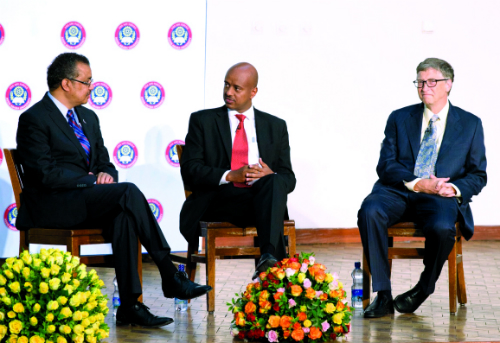 Haddis Tadesse, middle, with Ethiopian Minister of Foreign Affairs, Tedros Adhanom, left, and  Bill Gates.