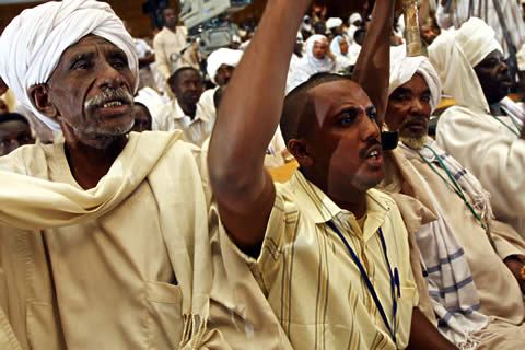 Sudanese protest in Khartoum against the court's indictment of President Omar al-Bashir