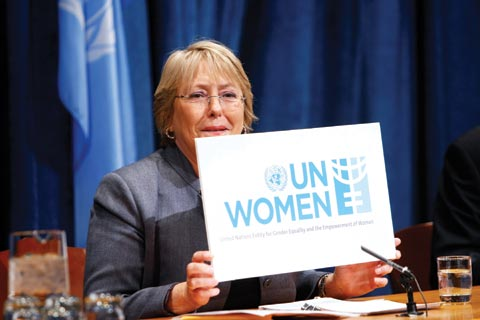 Michelle Bachelet, executive director of UN Women, the world body's new agency on gender equality issues.
