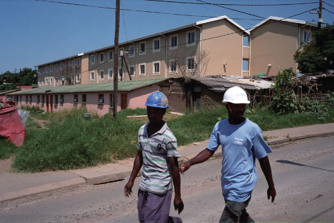 Construction of a housing project in KwaMashu, the largest poor township near South Africa's port city of Durban