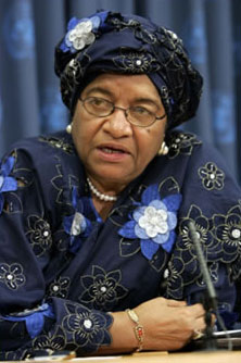 Liberian President Ellen Johnson-Sirleaf, Africa's first elected female head of state