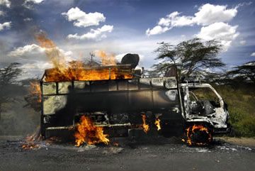 A truck set on fire by Kenyan protesters