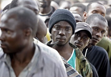 Africans held by Spanish immigration authorities