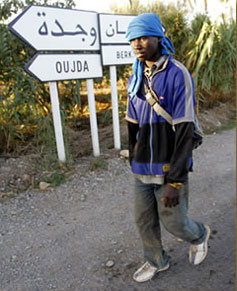 An aspiring African migrant on the road in Morocco