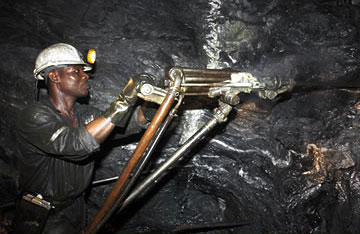 Large mining operations in Africa
