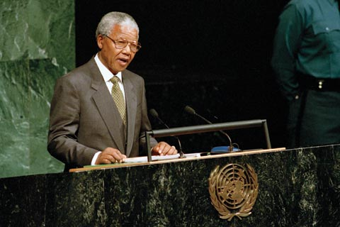 Nelson Mandela speaking at the UN General Assembly in 1994.