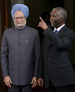Indian Prime Minister Manmohan Singh with then South African President Thabo Mbeki