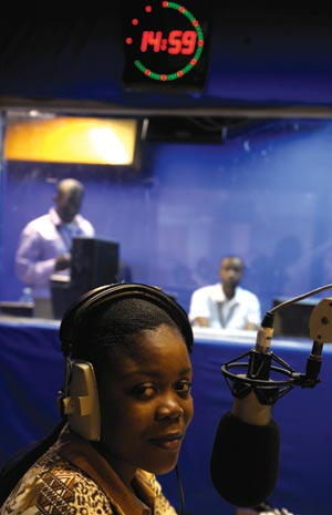 A broadcaster at Radio Okapi
